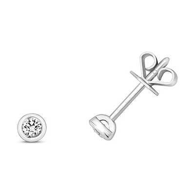 Treasure House 18k White Gold Diamond Rubover Stud Earrings EDQ170W