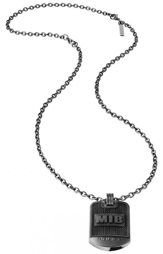 Police Men In Black Dog Tag Necklace 26400PSUB/01