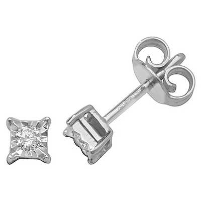 Treasure House 9k White Gold Square Illusion Set Diamond Stud Earrings ED309W