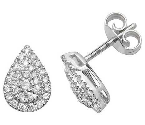 James Moore TH 9k White Gold Diamond Pear Earrings ED307W