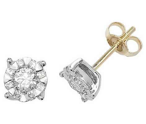 Treasure House 9k Yellow Gold Diamond Stud Earrings ED191