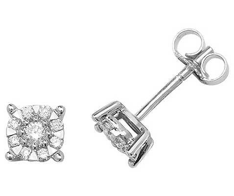 James Moore TH 9k White Gold Diamond Stud Earrings ED188W