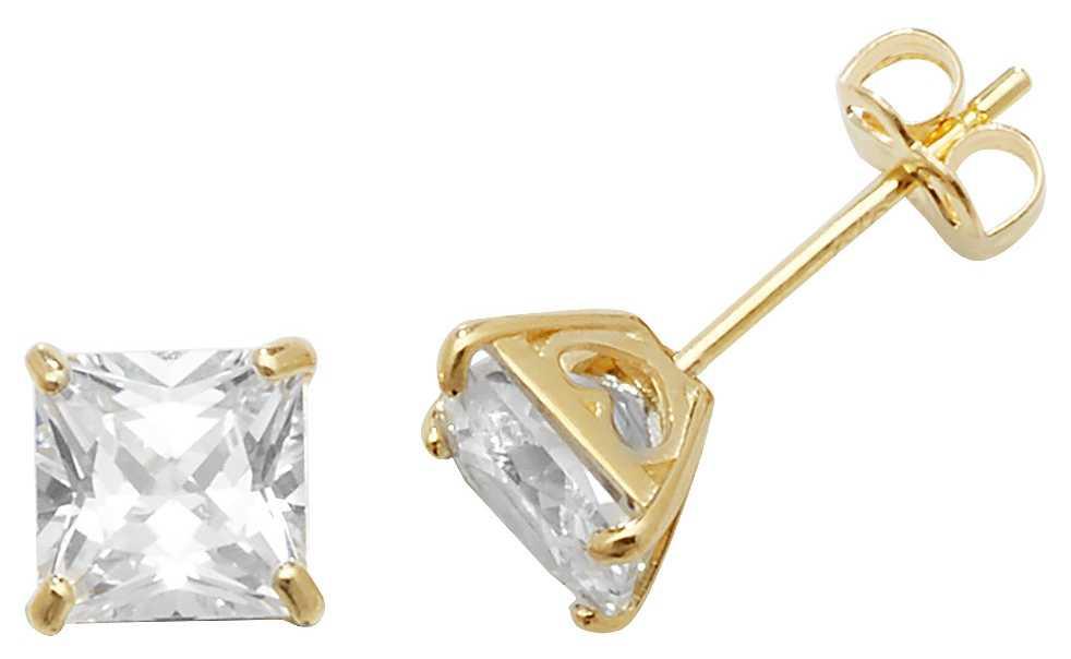 Treasure House 9k Yellow Gold Cubic Zirconia Stud Earrings ES468