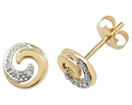 Treasure House 9k Yellow Gold Diamond Swirl Stud Earrings ED173