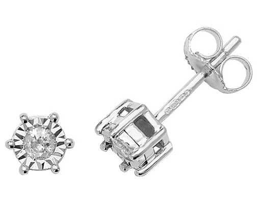 Treasure House 9k White Gold Illusion Set Diamond Stud Earrings ED167W