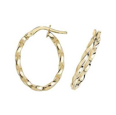 Treasure House 9k Yellow Gold Oval Hoop Earrings ER1008-V3