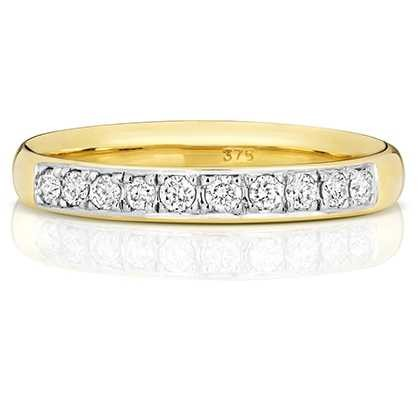 Treasure House 9k Yellow Gold 33% Diamond Grain Set Eternity Ring W225