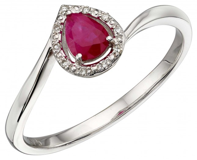 Elements Gold 9k White Gold Diamond Ruby Ring GR568R