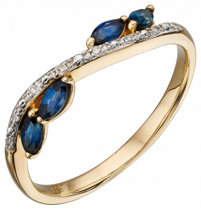 Elements Gold 9k Yellow Gold Sapphire And Marquis Diamond Ring GR562L