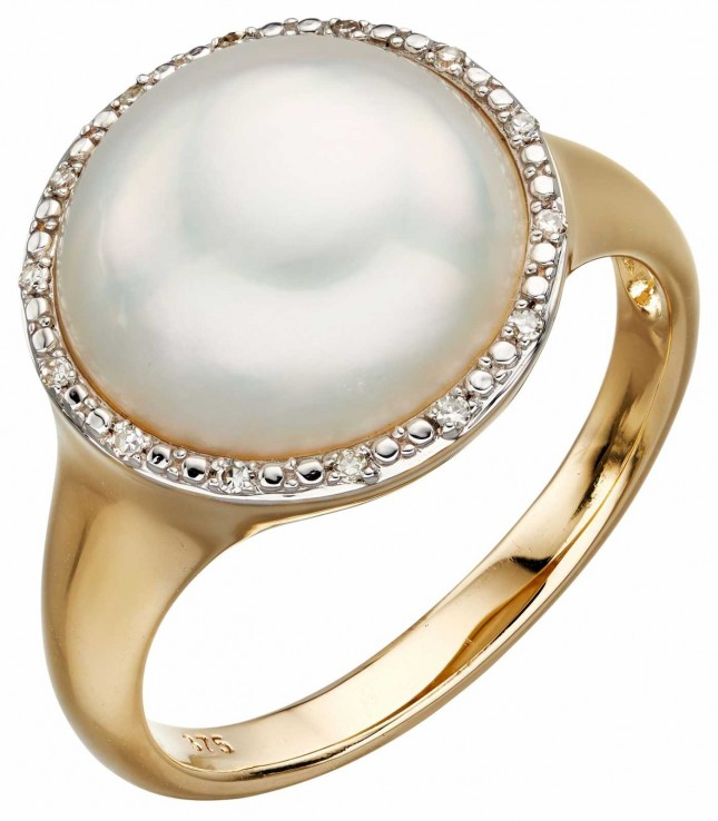 Elements Gold 9k Yellow Gold Diamond And Pearl Ring GR560W