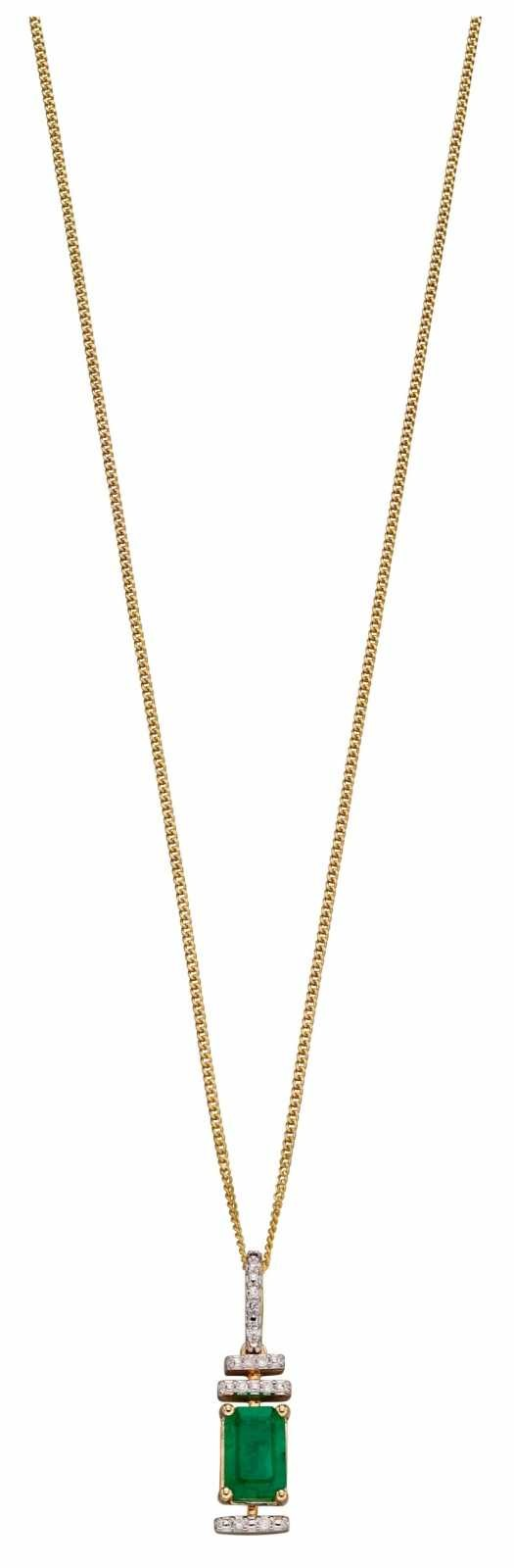 Elements Gold 9k Yellow Gold Emerald Diamond Deco Pendant Only GP2185G