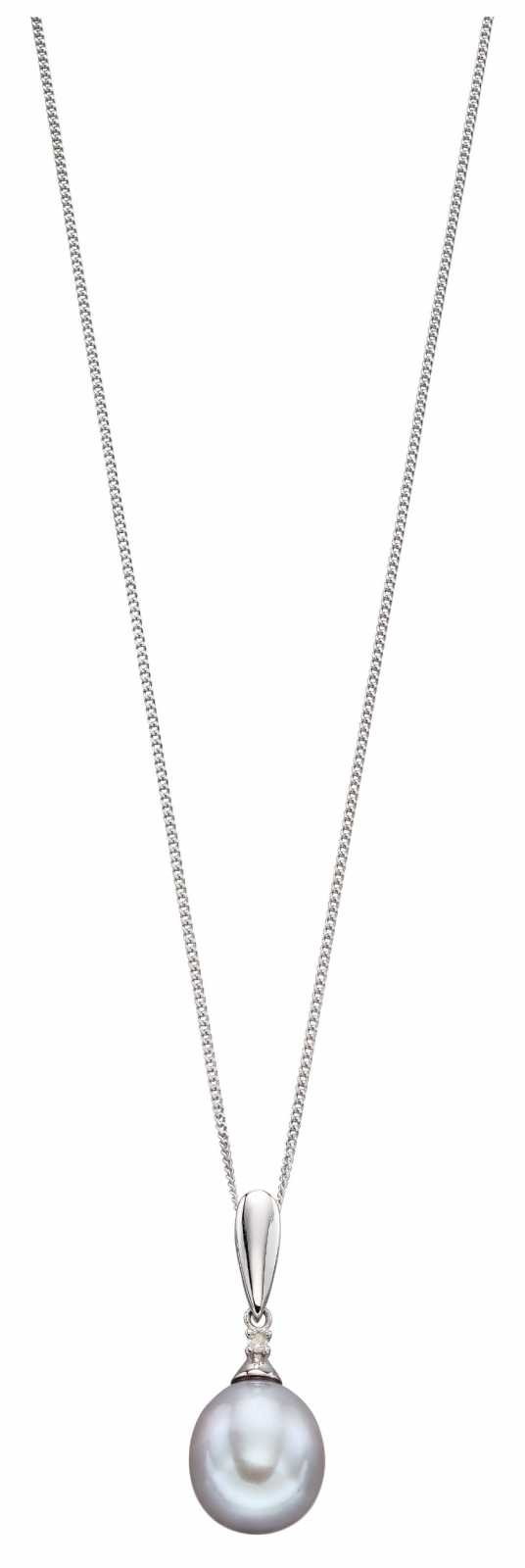 Elements Gold 9k White Gold Grey Pearl Diamond Pendant Only GP2186H