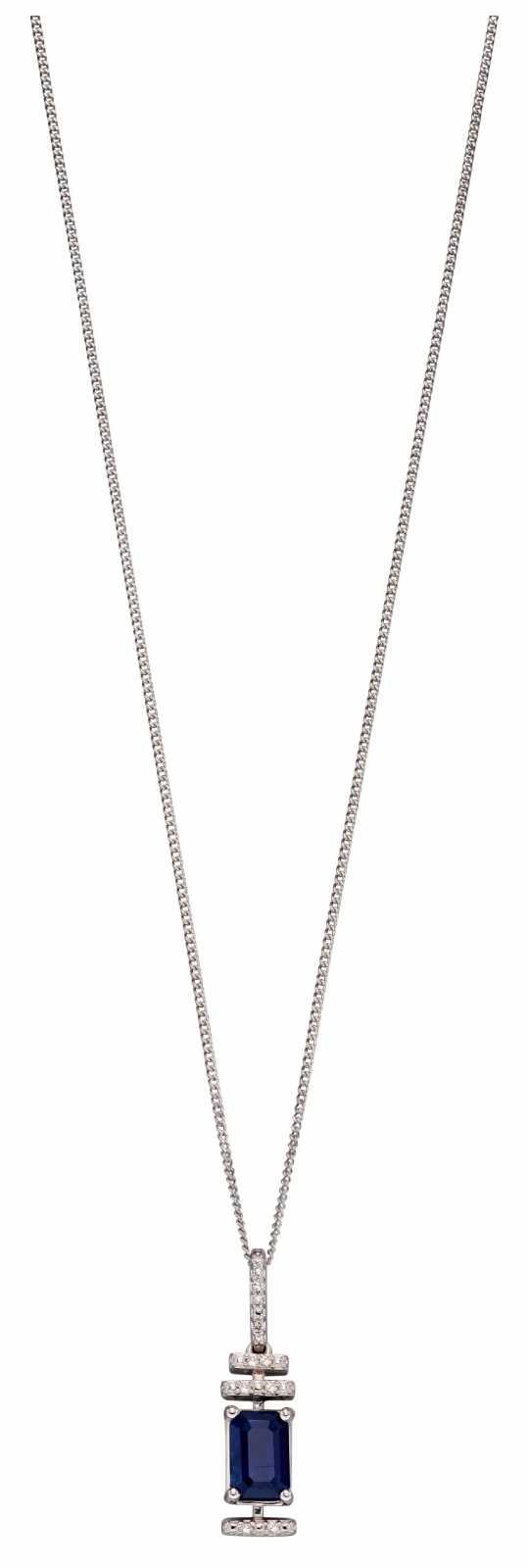 Elements Gold 9k White Gold Sapphire Diamond Deco Pendant Only GP2184L