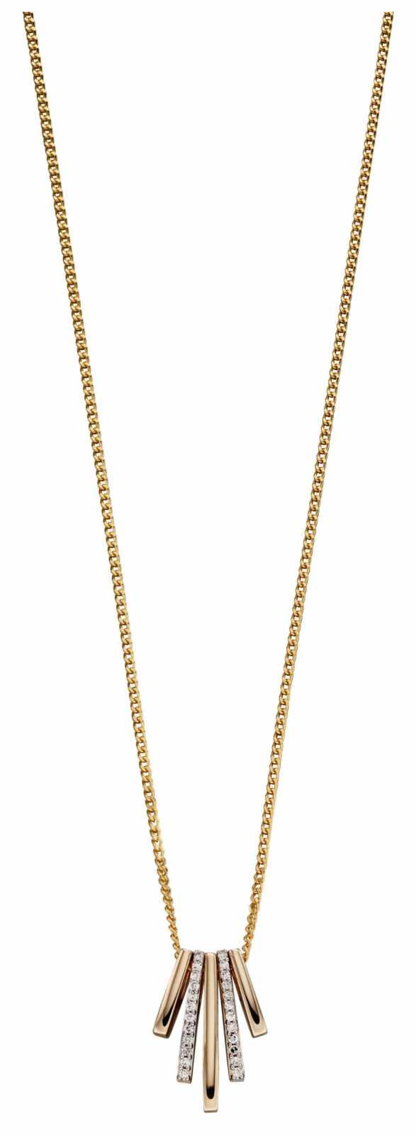 Elements Gold 9k Yellow Gold Geometric Diamond Stick Drop Pendant Only GP2181