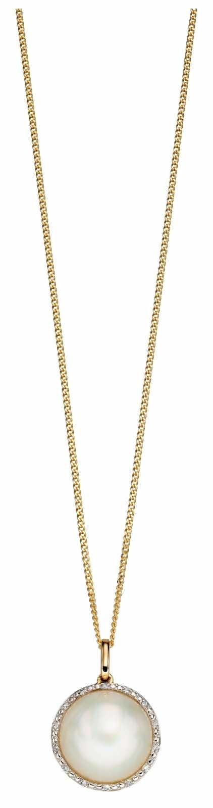 Elements Gold 9k Yellow Gold Diamond And Pearl Pendant Only GP2160W