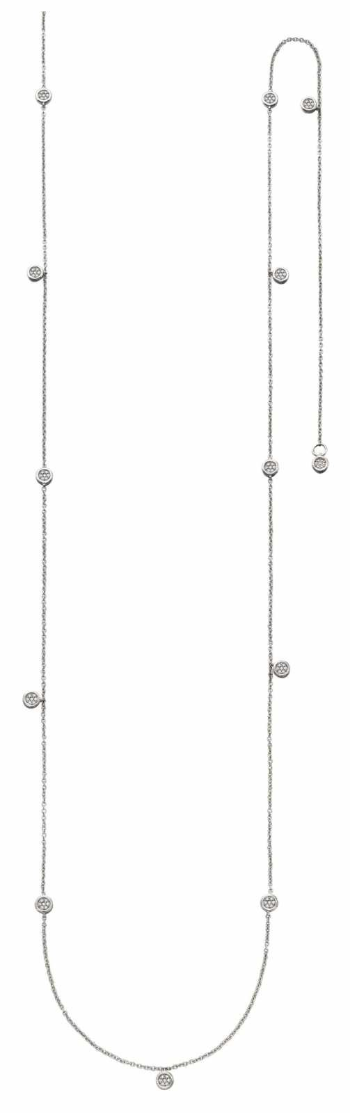 Elements Gold 9k White Gold Diamond Station Necklace GN340