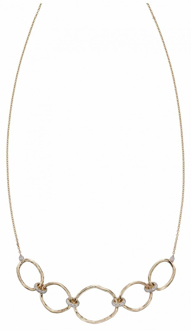 Elements Gold 9k Yellow Gold Hammered Diamond Connector Necklace 43.2cm GN337