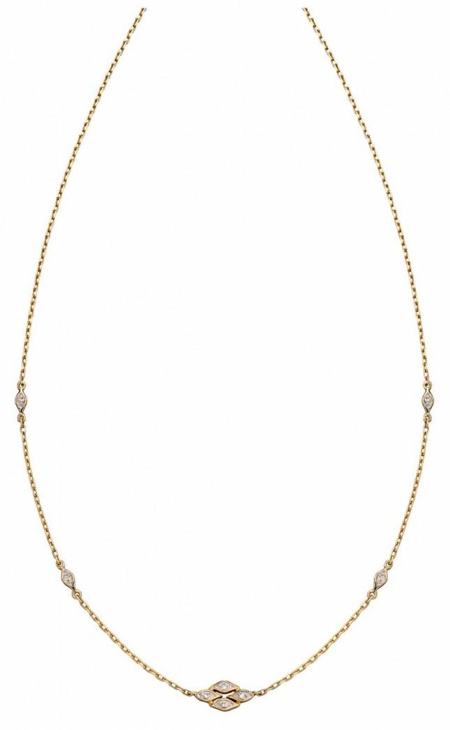 Elements Gold 9k Yellow Gold Deco Diamond Drop Necklace 40-45cm GN332