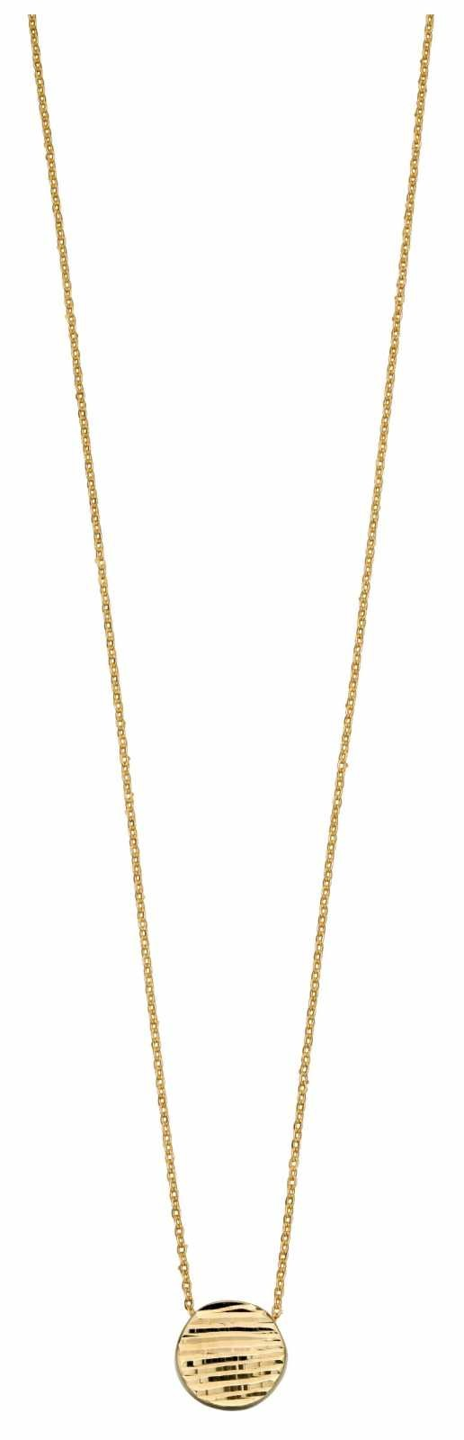 Elements Gold 9k Yellow Gold Textured Circle Necklace GN329