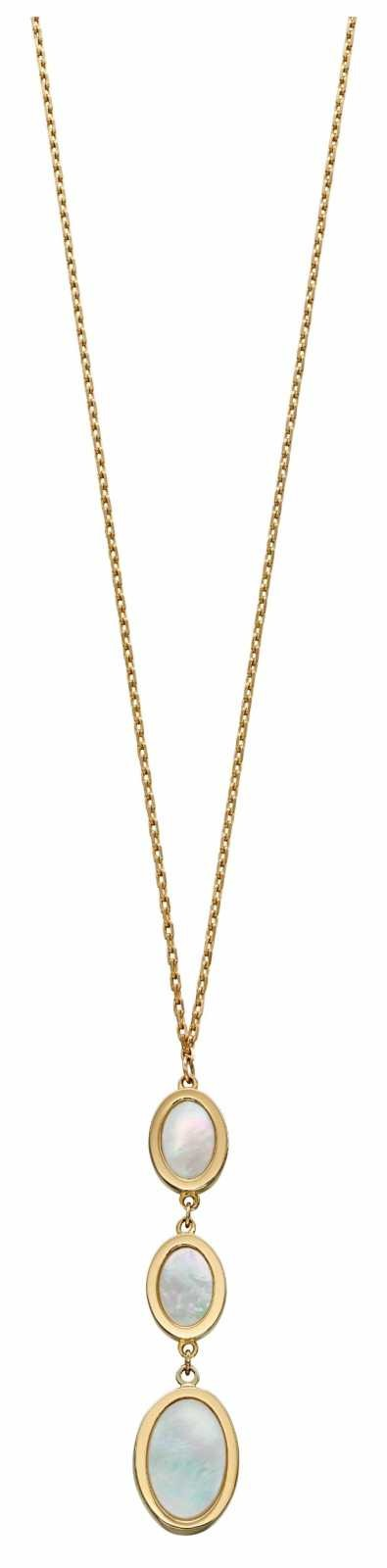 Elements Gold 9k Yellow Gold Grey Mother Of Pearl Oval Chain Necklace GN326W