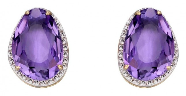 Elements Gold 9k Yellow Gold Amethyst Diamond Stud Earrings GE2273M