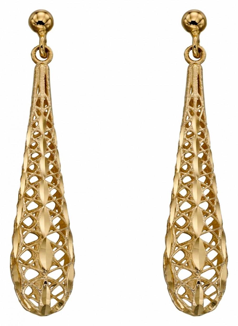 Elements Gold 9k Yellow Gold Filigree Tear Drop Earrings GE2271