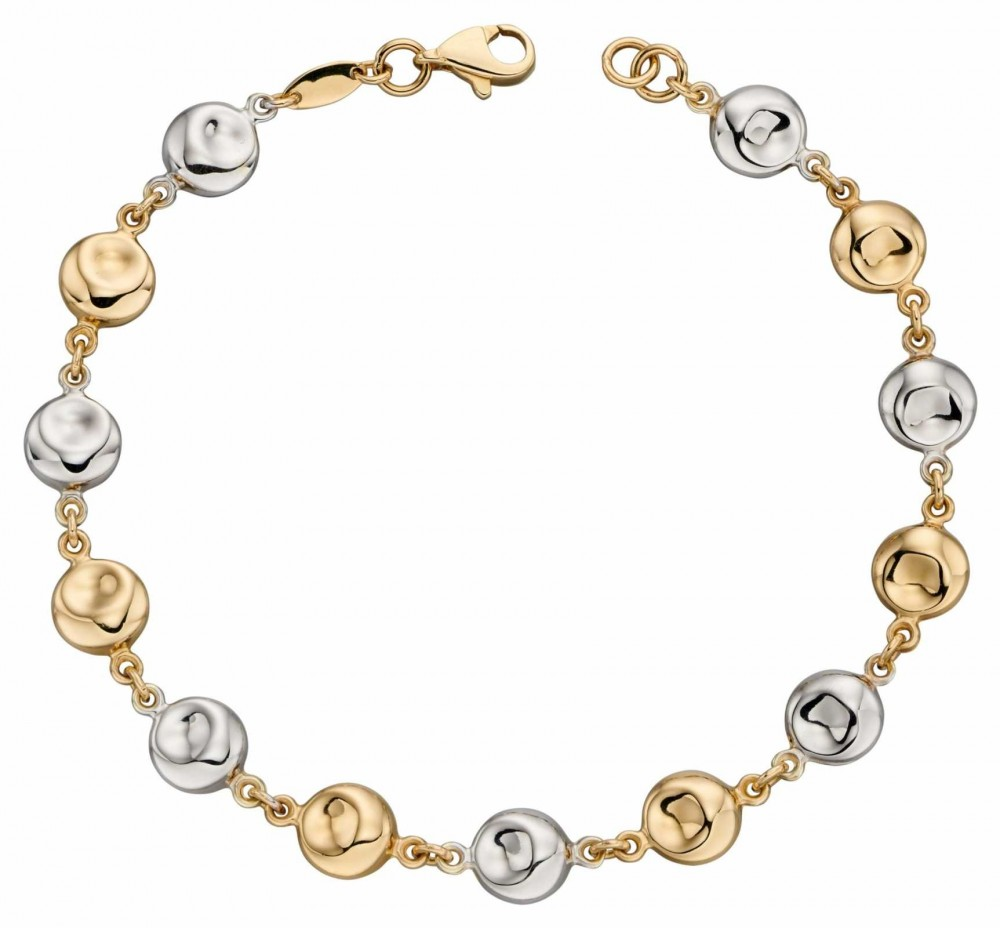 Elements Gold 9k Yellow And White Gold Organic Disc Bracelet 19cm GB472
