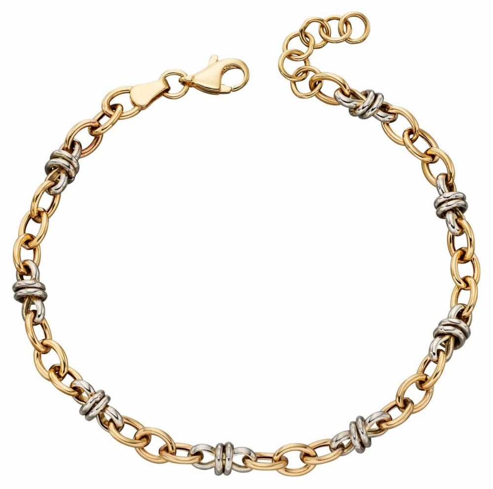 Elements Gold 9k Yellow And White Gold Multi Link Bracelet 19cm GB468