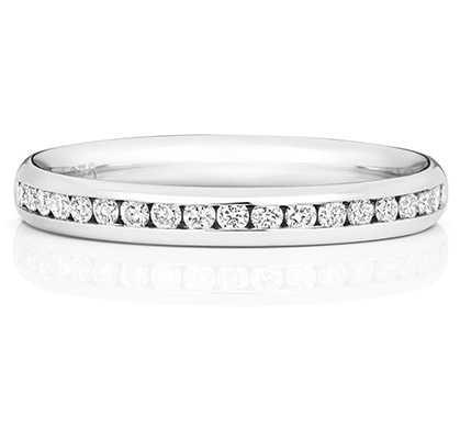 Treasure House 18k White Gold 50% Diamond Channel Eternity Ring WQ220W