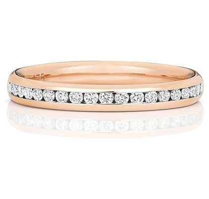 Treasure House 18k Rose Gold 50% Diamond Set Channel Eternity Ring WQ220R