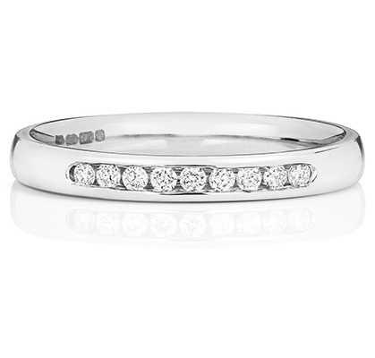 Treasure House 18k White Gold 25% Channel Set Diamond Eternity Ring WQ218W