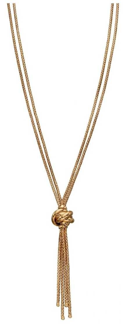 Elements Gold 9k Yellow Gold Double Strand Knot Necklace GN311