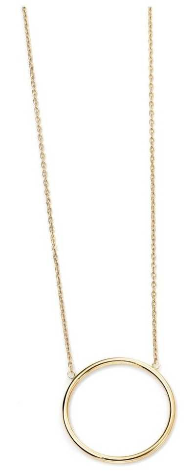 Elements Gold 9k Yellow Gold Open Circle Necklace 43cm GN224