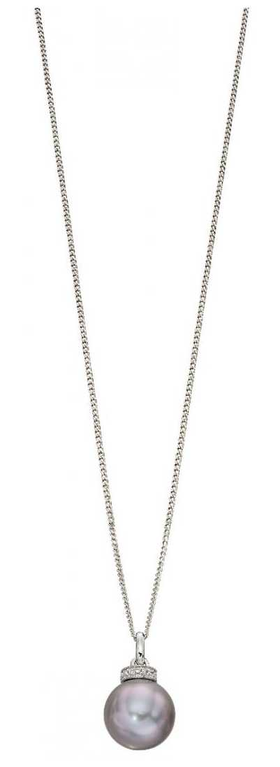 Elements Gold 9k White Gold Grey Pearl Diamond Rondelle Pendant Only GP2092H