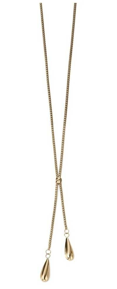 Elements Gold 9k Yellow Gold Double Teardrop Necklace GN237