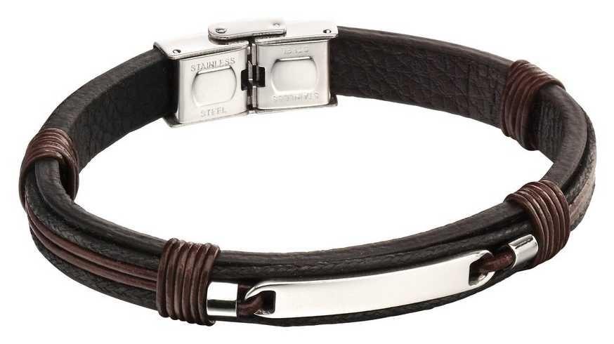 Fred Bennett Stainless Steel Brown Leather ID Bracelet B5124