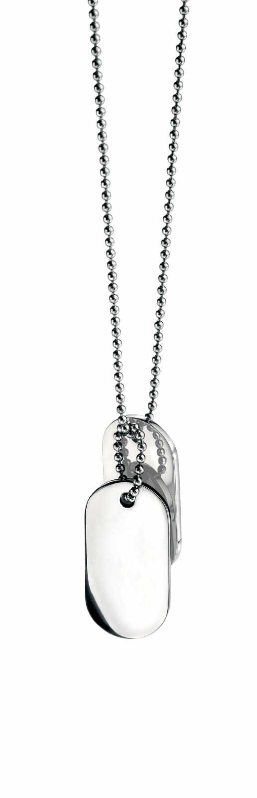 Fred Bennett Stainless Steel Oval Dogtags Chain Necklace N2686
