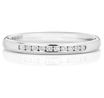 Treasure House 18k White Gold 25% Diamond Channel Eternity Ring WQ215W