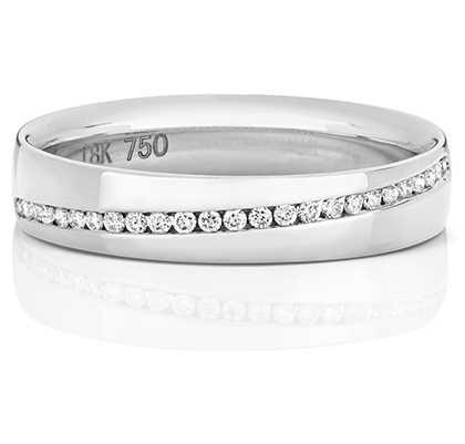 Treasure House 18k White Gold Crossover Diamond Set Channel Ring RDQ729W