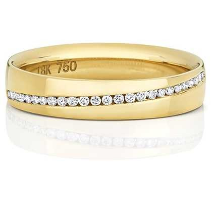 Treasure House 18k Yellow Gold Crossover Diamond Set Channel Ring RDQ729