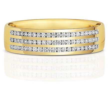 James Moore TH 9k Yellow Gold 3 Row Diamond Set Ring RD733