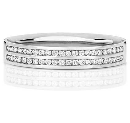 Treasure House 9k White Gold Double Row Diamond Channel Ring RD724W