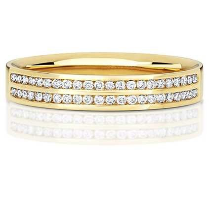 Treasure House 9k Yellow Gold Double Row Diamond Channel Ring RD724