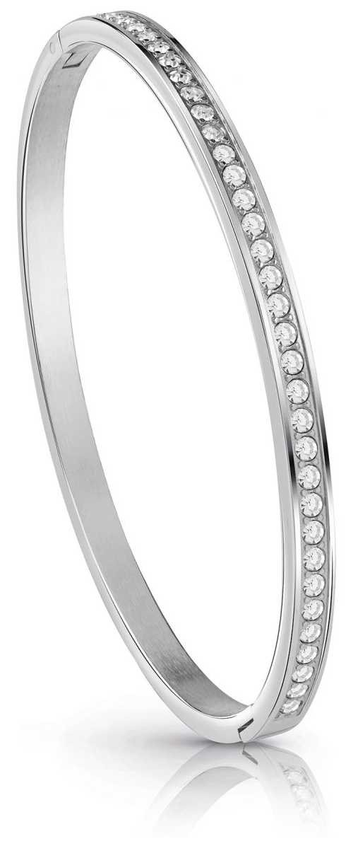 Guess All Around Rhodium Plated Crystal Bangle UBB28133-L