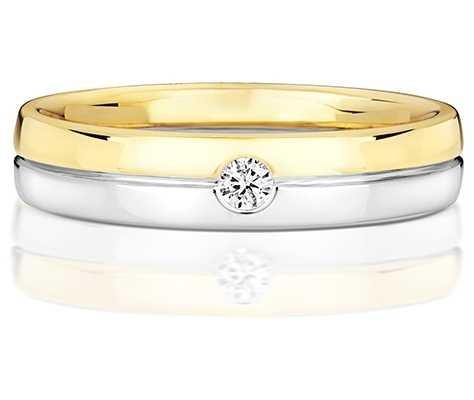 Treasure House 9k White And Yellow Gold Mens Single Diamond Ring RD723