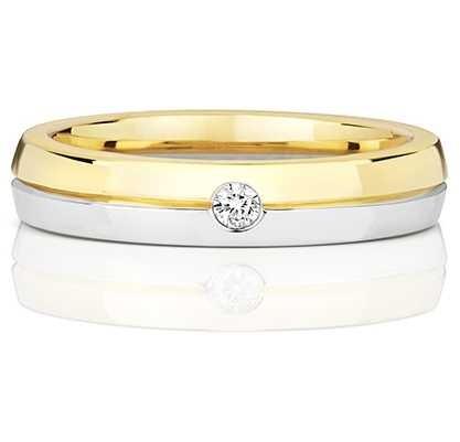 Treasure House 9k White And Yellow Gold Ladies Single Diamond Ring RD722