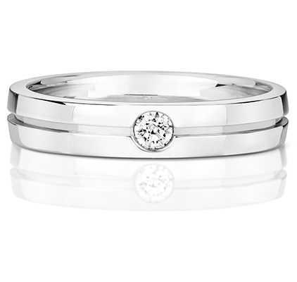 Treasure House 9k White Gold Ladies Diamond Set Groove Ring RD719W
