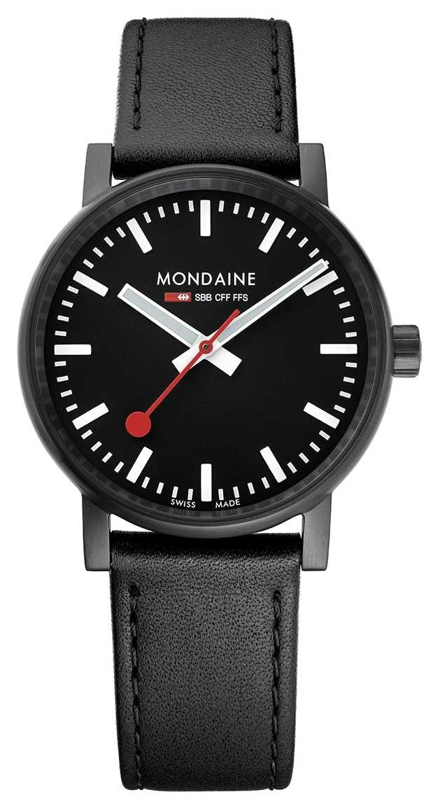 Mondaine Evo2 35mm Black Leather Black IP Watch MSE.35121.LB
