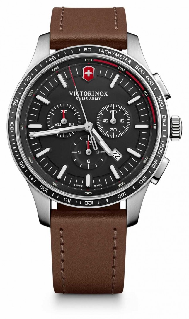 Victorinox Swiss Army Mens Alliance Sport Chronograph Black Dial Brown Leather 241826