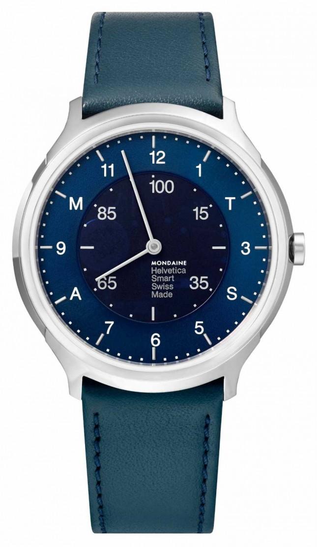 Mondaine Helvetica Smart 40mm Blue Dial Blue Leather Strap MH1.R2S40.LD